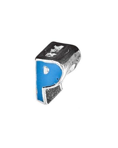 Angel Devil Abalorio de Plata de Ley 925 Letra P Azul