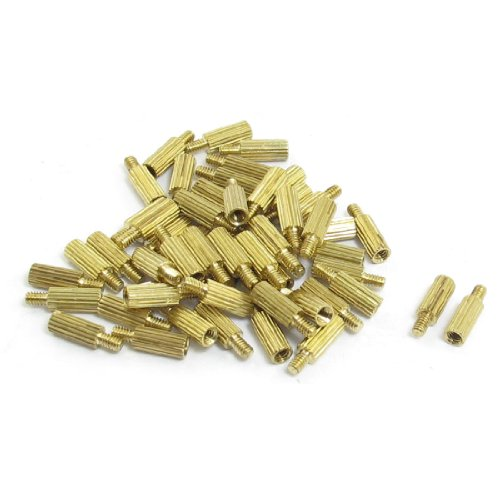 M2x7mmx10mm Cylindrical Brass Stand Off Spacer Male to Female 50Pcs