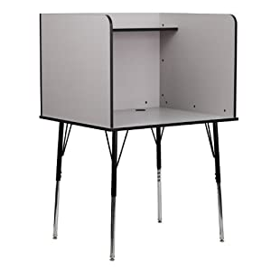 Flash Furniture Mt-m6221-grey-gg Study Carrel With Adjustable Legs And Top Shelf In Nebula Grey Finish by Flash Furniture