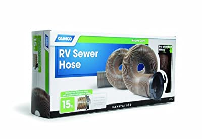 Camco 39691 RV HTS 15' Heavy-Duty Sewer Hose with Straight Hose Adapter