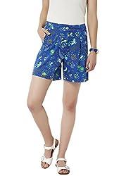 Chumbak Women's Cotton Shorts (CHWS002 S_Blue_S)