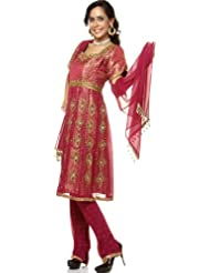 Exotic India Purple Anarkali Suit With Heavy Beadwork And Brocade Weave - Purple