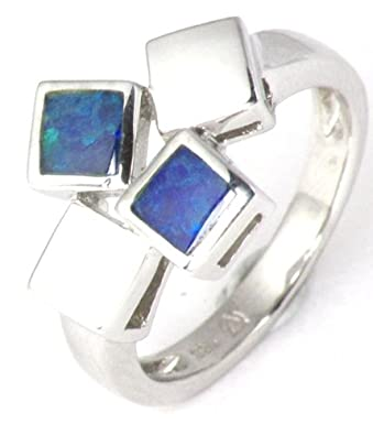 Sterling Silver Opal Square Contemporary Ring