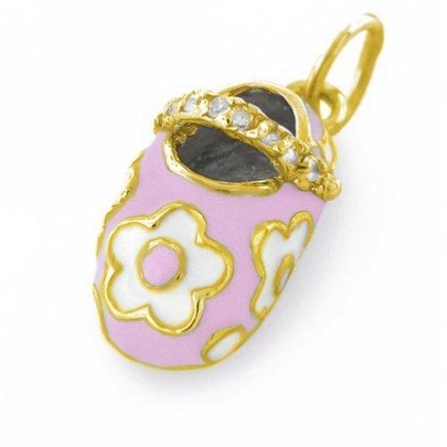 Bling Jewelry Gold Vermeil Pastel Pink Enamel Floral Petite Baby Shoe Pendant
