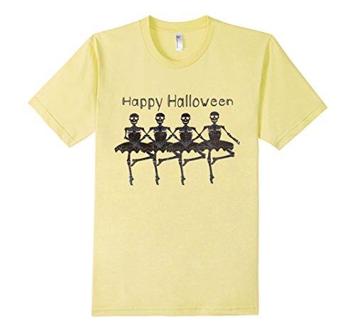 [Men's Creepy Ballerina Skeletons Halloween Costume Dancers T Shirt 3XL Lemon] (Plus Size Ballerina Costumes)