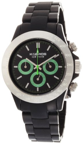 K&BROS Unisex 9542-2 Ice-Time Full Color Black Chronograph Watch