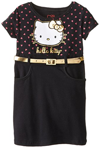 Hello Kitty Little Girls' Belted Dot Hk Dress, Anthracite, 3T front-784309