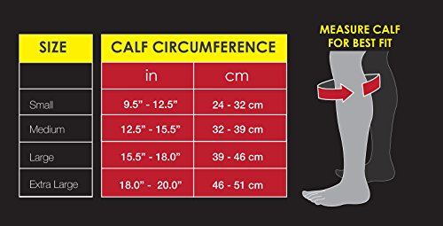 Gabor Fitness Graduated 20-25mm Hg Compression Running Leg Sleeves, Large, Black