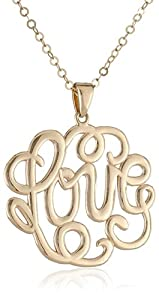 "14k Yellow Gold Monogram ""Love"" Pendant Necklace, 17"""