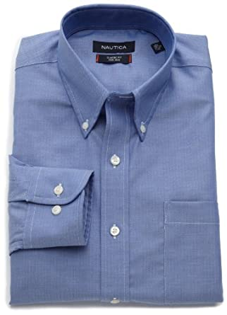 Nautica Men's Nautica Non Iron Solid Herringbone Shirt, Blue, 15 32/33