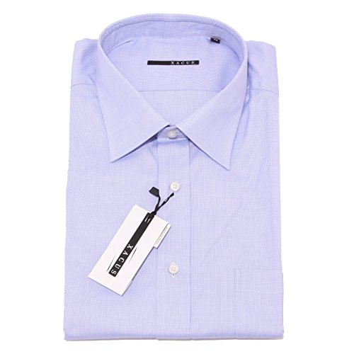 0044P camicia uomo XACUS manica corta azzzurro shirt men sleeveless [46 (18.5)]