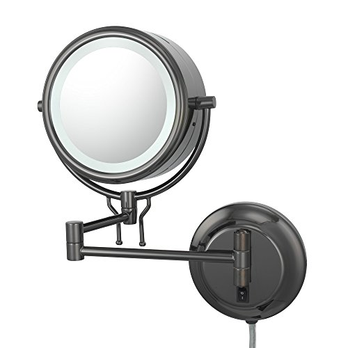 Kimball And Young 91405 Double-Sided Contemporary Wall Mirror Plug-In, 1X And 5X Magnification, Black Nickel front-692634