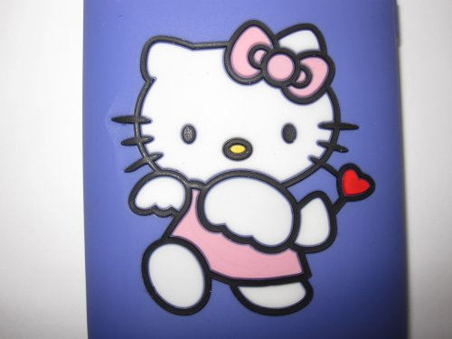 I-Phone 3G-3GS light weight Hello Kitty Stamped Silicone Case / Skin Cupid Purple
