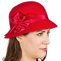 Sakkas 5LCSY Ruby Vintage Style Wool Cloche Hat - Red - One Size