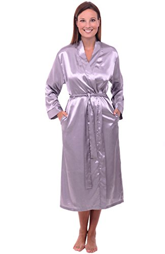 Del Rossa Women's Satin Robe, Long Dressing Gown, Large Lilac Gray (A0755LGRLG)