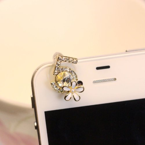 Cjb Dust Plug / Earphone Jack Accessory Camellia No. 5 For Iphone 4 4S S4 All Device With 3.5Mm Jack (Us Seller)