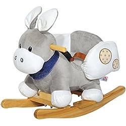 Homcom® Schaukelpferd Plüsch Kinder Schaukeltier Schaukel Pferd Spielzeug (Schaukelesel/grau)