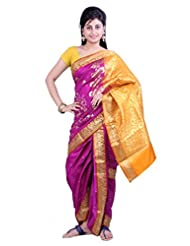 ISHIN 8 Meter Ready to wear Navari Polly silk Pink Saree