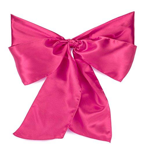 Lann's Linens Satin Chair Sashes / Bows - for Wedding or Banquet - Fuchsia - 10pcs