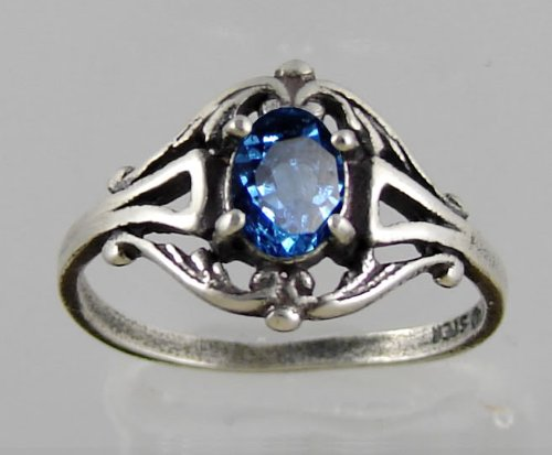 A Gorgeous Victorian Sterling Silver Ring Featuring a Beautiful Faceted Blue Quartz Gemstone