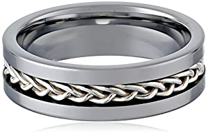 Men's Stainless Steel Sterling Silver Inlay Sterling Silver Center Ring, Size 9