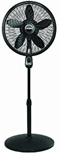 "Lasko 1843 18"" Remote Control Cyclone Pedestal Fan, Black"