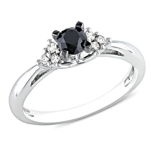 1/2 CT Black and White Diamond TW Engagement Ring Silver GH I3 Black Rhodium Plated