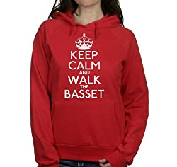 Keep calm and walk the Basset womens hooded top pet dog gift ladies Red hoodie white print