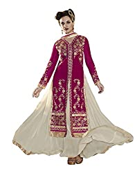 Jiya Presents Lehenga Choli(Off White,Rani)