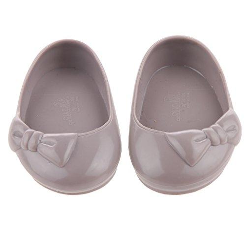 1 Paire Bowknot Caoutchouc Chaussures De Sport De 18 Pouces Américain Poupées Gris Accessoires