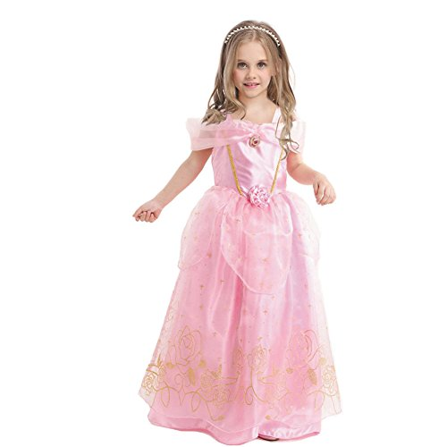 EnjoyFashion Girls' Princess Aurora Costume Party Fancy Cosplay Dress 4 Pink (Fancy Dress Costume)
