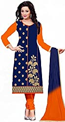 Women's Latest Fashion Designer Fancy Party Wear Collecton Todays Best Festive Offer All Type Of Modern Blue Colored Embroidered Chudidar Salwar Suit