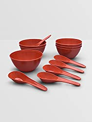 King International Red plastic microwave safe serving bowl with spoon set of 6 pieces