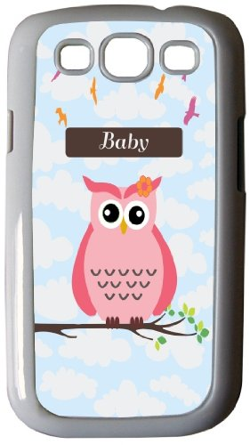 """Rikki Knighttm """"Baby"""" Name - Cute Pink Owl On Branch With Personalized Name - White Hard Rubber Tpu Case Cover For Samsung® Galaxy I9300 Galaxy S3 front-587362"""