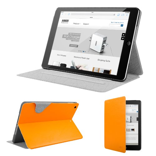 Anker® Color Palette Series Ultra Slim Case for iPad Air - Synthetic Leather Folio Case with Multi Angle Stand Smart Cover for Apple iPad Air iPad 5 - with Auto Sleep / Wake function (Orange)