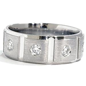 Pompeii3 Inc. Mens Natural 1.00CT Diamond Ring Solid 950 Platinum Comfort Fit 8MM Wedding Band - 10.5