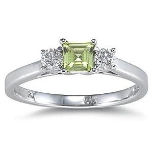 14k white gold princess cut peridot ring size