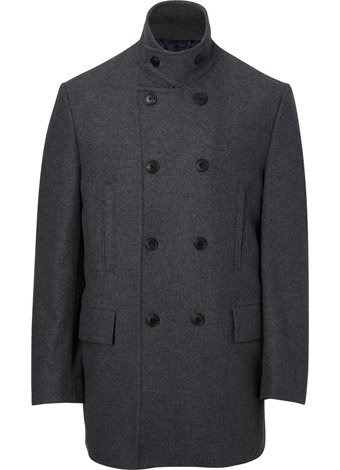 Austin Reed Light Cashmere Mix Grey Funnel Coat REGULAR MENS 42