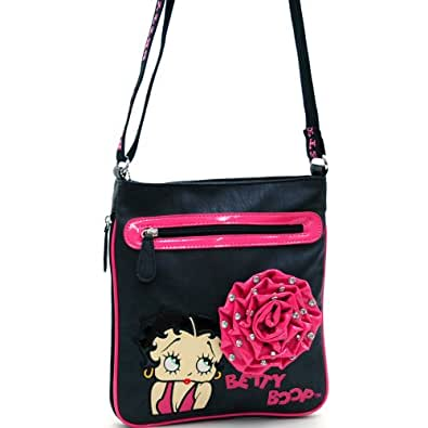 Betty Boop Messenger Bag W/ Rhinestone Studded Rosette Accent - Hot Pink