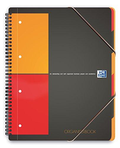 Oxford International Organiserbook cahier A4+ couverture polypro avec trieur intégré 160 pages petits carreaux 5x5