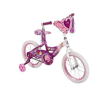 Huffy Disney Princess Steel Frame Kids Bike for Girls 16 Inch with Training Wheels Front Bag