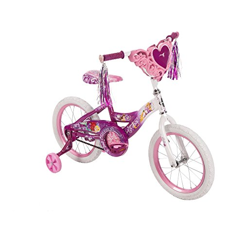 Huffy Disney Princess Steel Frame Kids Bike for Girls 16 Inch with Training Wheels Front Bag 0