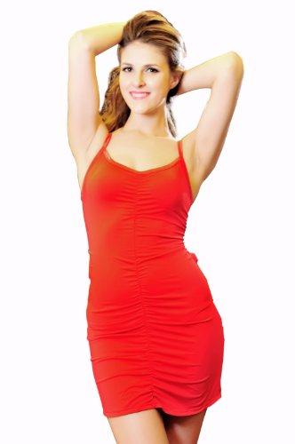 ShiShiMei Women's Sexy Lingerie Low Back Mini Dress One Size Red