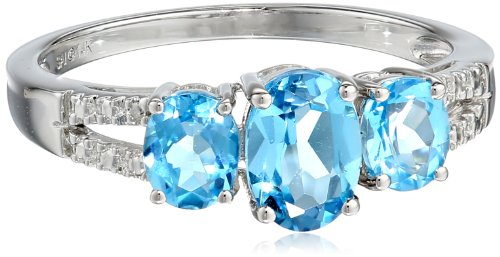 14k White Gold Swiss Blue Topaz and Diamond-Accented Ring, Size 7