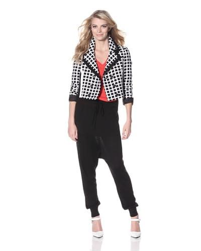 L.A.M.B. Women's Cropped Check Jacket  - Black/White