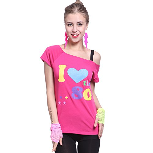 Fever 80s Pop Star I love the 80s Pink T shirt - Medium or Large