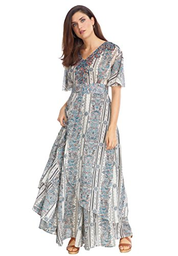 b92b58bbd0 Jessica London Women s Plus Size Kimono-Sleeve Maxi Dress Paisley Print
