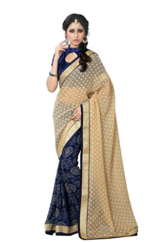 Sourbh Sarees Beige And Navy Blue Printed Jacquard and Faux Georgette Half Half Saree with Unstitched Blouse Piece