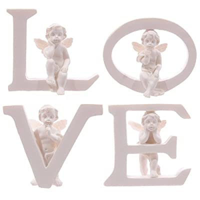 Set of 4 Angel Cherub LOVE Letters Ornaments Figures Valentines Mothers Day Gift from Puckator