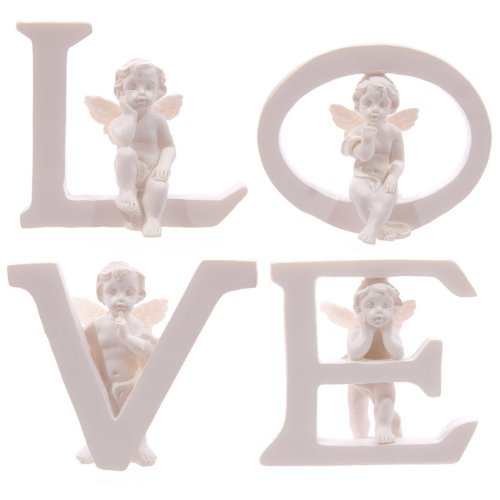 Set of 4 Angel Cherub LOVE Letters Ornaments Figures Valentines Mothers Day Gift